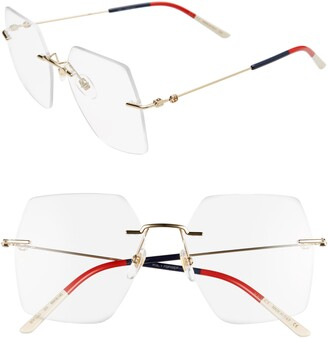 Gucci 55mm Rimless Square Optical Glasses