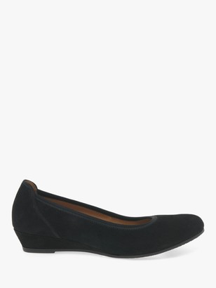 Gabor Chester Wide Fit Suede Wedge Heeled Pumps, Black