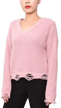 Planet Gold Juniors' Chenille Destructed Lace-Up Sweater