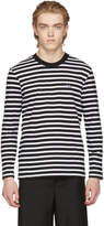 MAISON KITSUNÉ Black and White Long Sleeve Striped Tricolor Fox T-Shirt