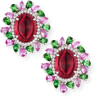 Alexander Laut Rubellite Cabochon Earrings with Diamonds, Pink Sapphire & Tourmaline