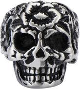 FINE JEWELRY Stainless Steel Flower Skull Ring