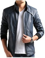 JKQA Men's Vintage Stand Collar Casual Leisure Pu Leather Jacket (S, )