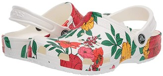 Crocs Classic Printed Floral Clog (White/Floral) Women's Clog Shoes