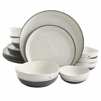 Gibson Elite Rhinebeck 16 Piece Double Bowl Dinnerware Set White/Black