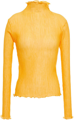J.W.Anderson Plisse Cotton And Silk-blend Gauze Turtleneck Top