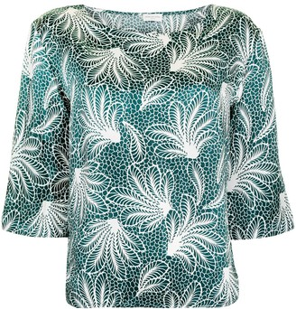 Dries Van Noten Pre-Owned Floral Print Three-Quarter Sleeves Blouse