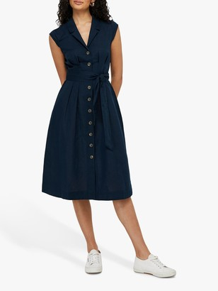 Monsoon Joanna Linen Midi Dress, Navy