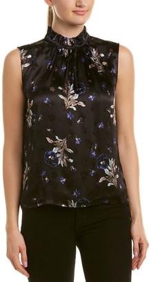 Rebecca Taylor Violet Floral Silk-Blend Top