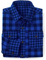 Classic Little Boys Pattern Block Flannel Shirt-Vibrant Sapphire Check