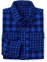 Lands' End Little Boys Pattern Block Flannel Shirt-Vibrant Sapphire Check