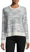 Jason Wu Long-Sleeve Abstract-Striped Pullover, Chalk/Light Celadon