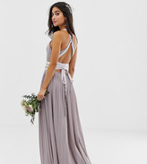 TFNC Petite Petite pleated maxi bridesmaid dress with cross back and bow detail in grey