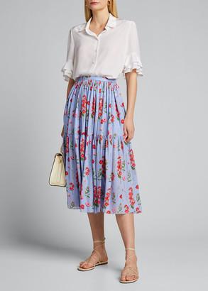 Carolina Herrera Floral Print Ruffled Silk Midi Skirt