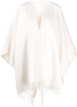 Fabiana Filippi Fringed Oversized Poncho Cape
