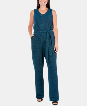 NY Collection Petite Glitter Zip-Front Belted Jumpsuit