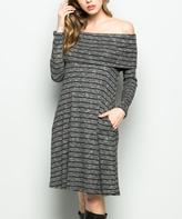Sweet Pea Black Stripe Pocket Off-Shoulder Dress
