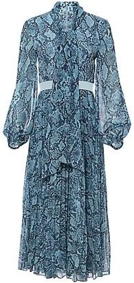 Toccin Snakeskin-Print Tieneck Midi Dress