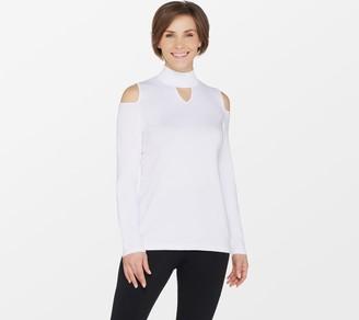 Susan Graver Rayon Nylon Cold Shoulder Mock Neck Sweater