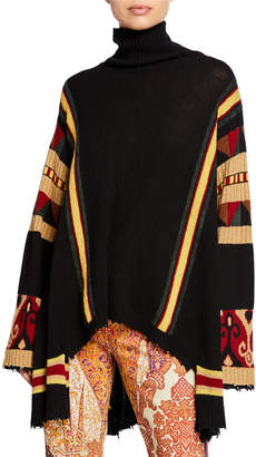 Etro High-Low Striped Poncho Sweater