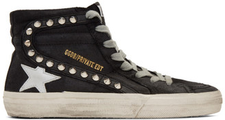 Golden Goose SSENSE Exclusive Black Stud Slide Sneakers