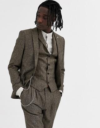 Twisted Tailor super skinny suit jacket in herringbone-Brown