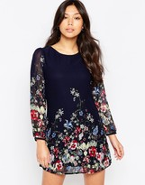 Yumi Border Print Long Sleeve Shift Dress