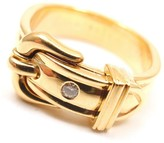 Hermes 18K Yellow Gold Diamond Belt Buckle Band Ring