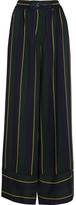 Sacai Striped Voile Wide-leg Pants - Navy