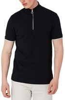 Topman Men's Muscle Fit Quarter Zip Tipped Polo