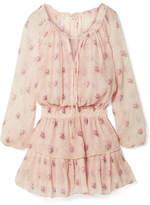 LoveShackFancy Popover Ruffled Metallic Floral-print Silk-blend Crepon Mini Dress - Pastel pink