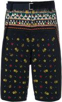 Sacai Pineapple print belted shorts