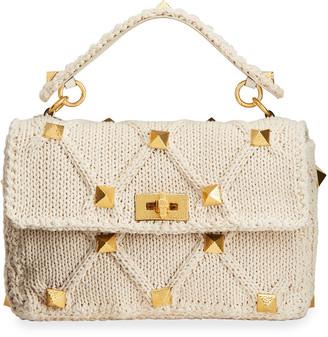 Valentino Roman Stud Knit Top Handle Bag