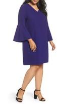 Tahari Plus Size Women's Bell Sleeve Crepe Shift Dress