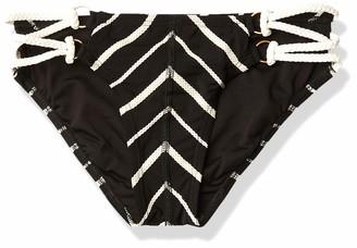 Robin Piccone Women's Harper Mitered Bikini Bottom with Criss Cross Braided Straps
