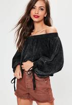 Missguided Bardot Blouson Sleeve Cropped Sweatshirt