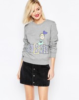 Love Moschino Belt Print Sweatshirt in Gray