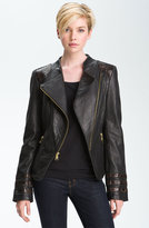 Bebe Snakeskin Embossed Trim Leather Jacket