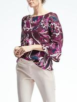 Banana Republic Print Flute-Sleeve Top