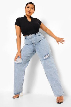 boohoo Plus Vintage Wash Rip Knee Boyfriend Jean