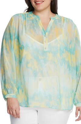 Vince Camuto Tie Dye Henley Tunic