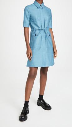 Victoria Victoria Beckham Patch Pocket Flannel Wool Shirtdress