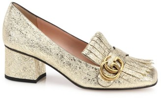 Gucci Marmont GG Crinkle Metallic Leather Block Heel Pumps