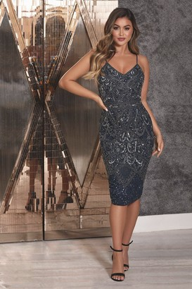 Sistaglam FLORENCE NAVY BEADED MIDI DRESS