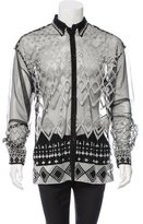 Versace Long Sleeve Mesh-Embroidered Shirt w/ Tags