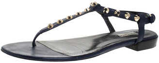 Balenciaga Blue Leather Studded Thong Flat Sandals Size 42