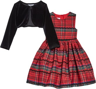 Pippa & Julie Kids' Plaid Taffeta Dress & Velvet Jacket Set