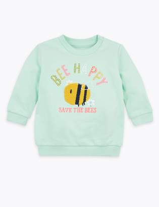 Marks and Spencer Cotton Rich Bee Happy Slogan Sweatshirt