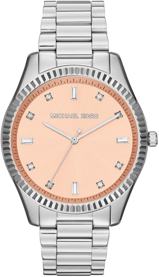 Michael Kors Silver Color Stainless Steel Blake Three-Hand Glitz Watch