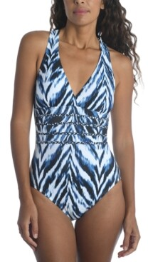 La Blanca Printed Tummy-Control One-Piece Swimsuit Women's Swimsuit